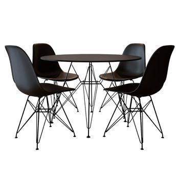 Mesa jantar eames de ferro preto tampo redondo 90cm preto 4
