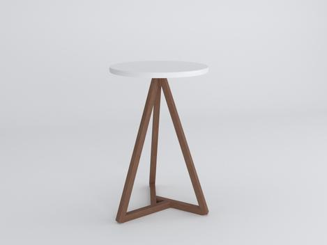 Mesa lateral com tampo redondo em mdf classic - amêndoa