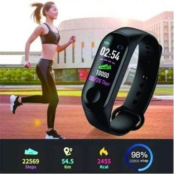 Pulseira inteligente m3 monitor cardíaco relógio -
