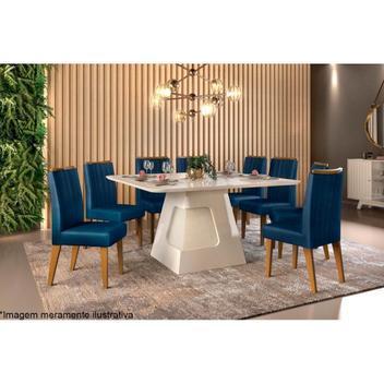 Sala jantar dj móveis dala+8 cadeiras ísis ipê/nav - mesa