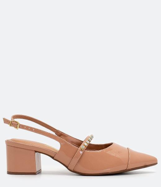 Sapato bico fino salto bloco vizzano
