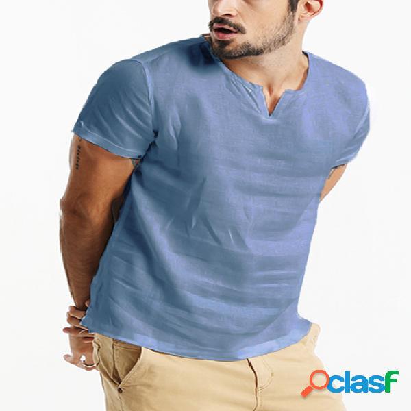 Incerun camiseta masculina respirável de algodão cor sólida