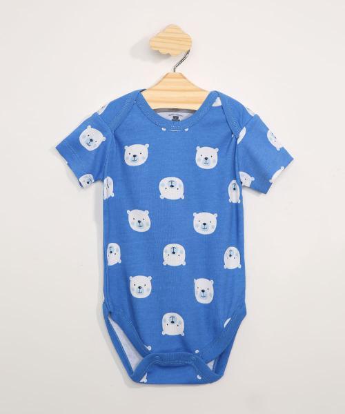 Body infantil manga curta estampada de ursos azul