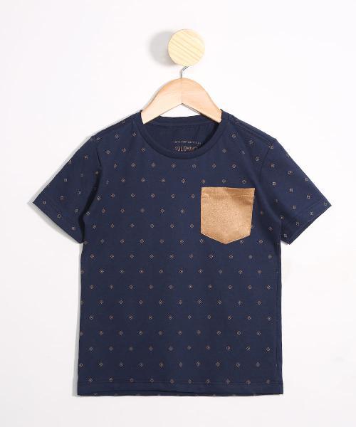 Camiseta Infantil Estampada Geométrica com Bolso em Suede