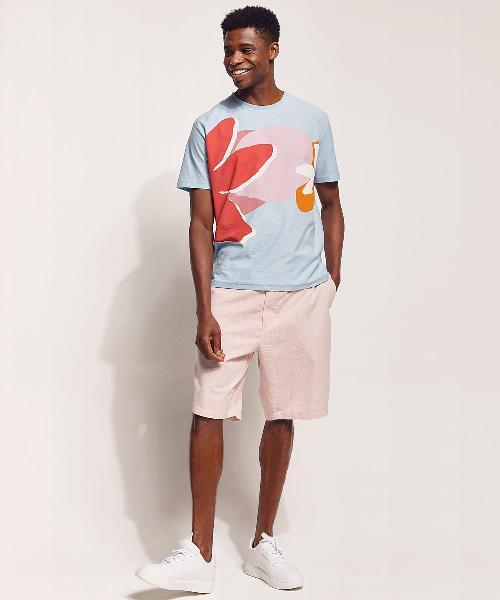 Camiseta masculina feline em flamê tropical manga curta