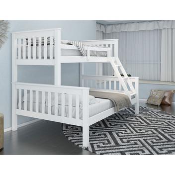 Beliche com cama de casal madeira maciça branco 30 - housin