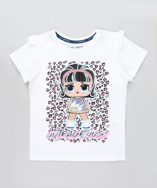 Blusa Infantil LOL Surprise com Glitter com Babado na Manga