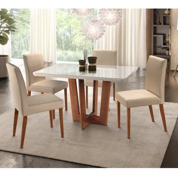 Conjunto mesa tampo madeira/vidro vitoria e 4 cadeiras