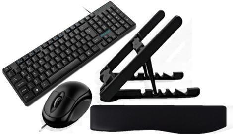 Kit office - suporte p/note, teclado e mouse com fio