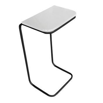 Mesa lateral tampo branco multiuso para sofá base metálica