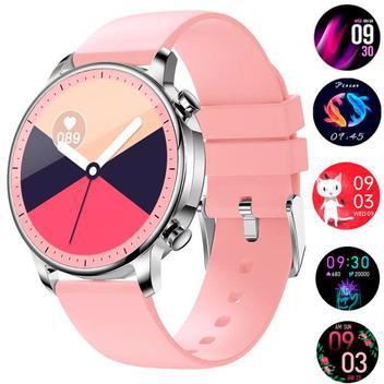 Relógio smartwatch feminino touch screen game prata rosa -