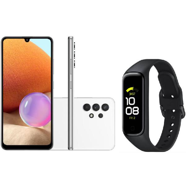 Smartphone Samsung Galaxy A32 Câmera 64MP Branco e