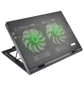 Suporte mesa base vertical led verde cooler para notebook