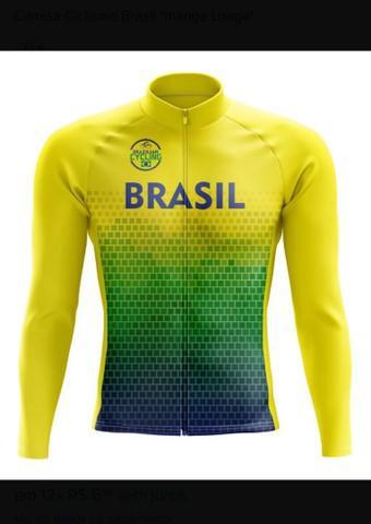 Camisa ciclismo bike brasil manga longa