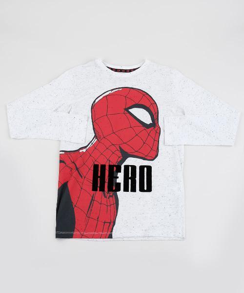 Camiseta infantil homem aranha manga longa off white