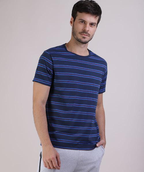 Camiseta masculina básica listrada manga curta gola careca