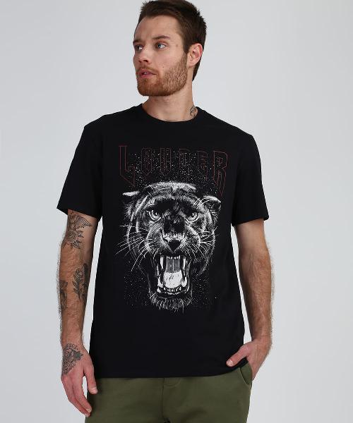 Camiseta masculina pantera manga curta preta