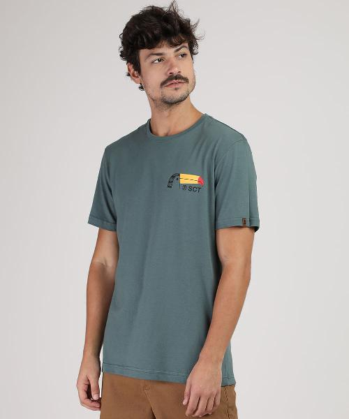Camiseta masculina tucano manga curta gola careca verde