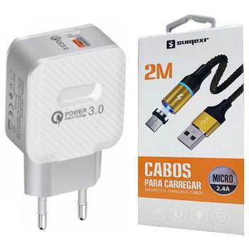 Carregador original turbo + cabo magnético de 2 metros p/
