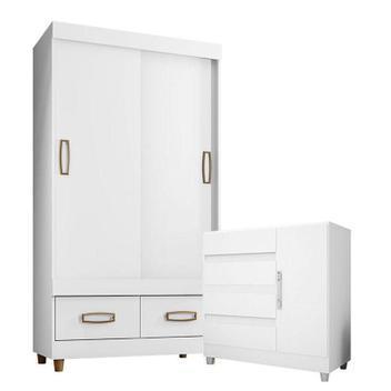 Cômoda 8000 e guarda roupa 20022 branco flex com pés -