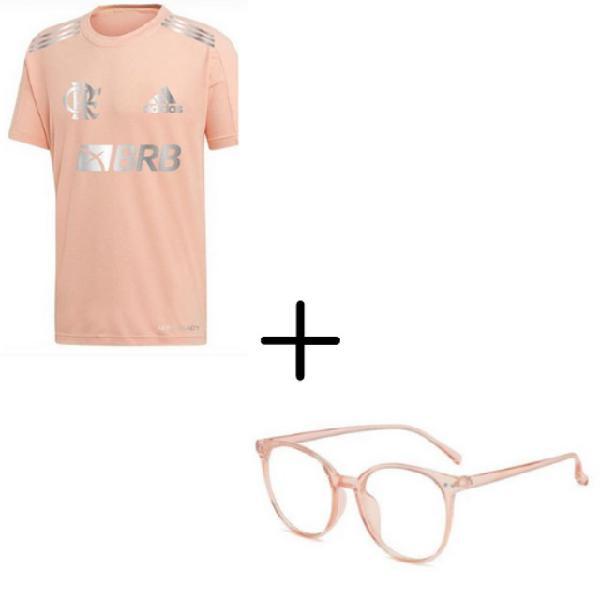 Kit camisa rosa exclusiva do flamengo + óculos anti raio