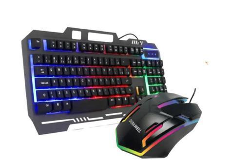 Kit gamer teclado semi mecânico + mouse gamer led rgb gamer