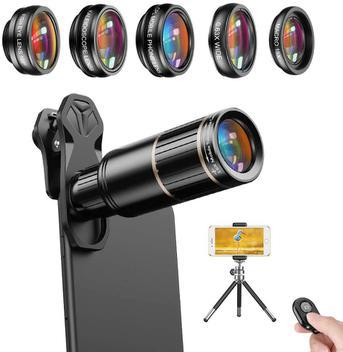 Kit lentes celular 6 em 1 apexel 16x zoom telescópio