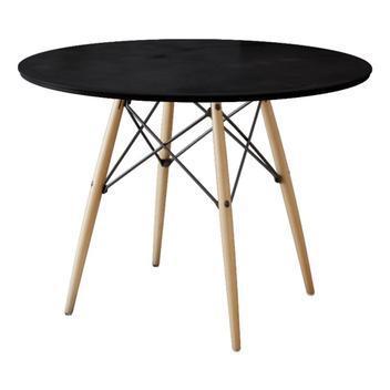 Mesa eiffel wood tampo de madeira 90 cm preto new green -