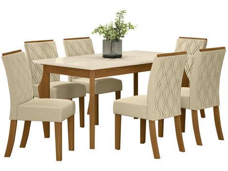 Mesa de jantar 6 cadeiras retangular - tampo de vidro henn