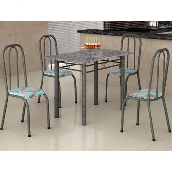 Sala de jantar mesa retangular tampo de granito 4 cadeiras