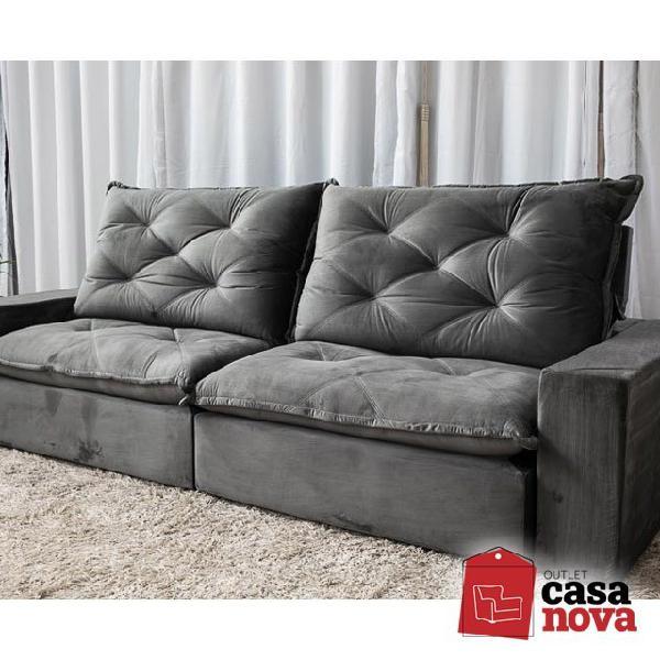 Sofá retrátil e reclinável cinza paris novo!