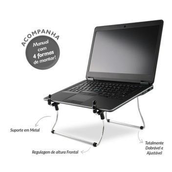 Suporte para notebook regulável (metal) cromado - reliza -