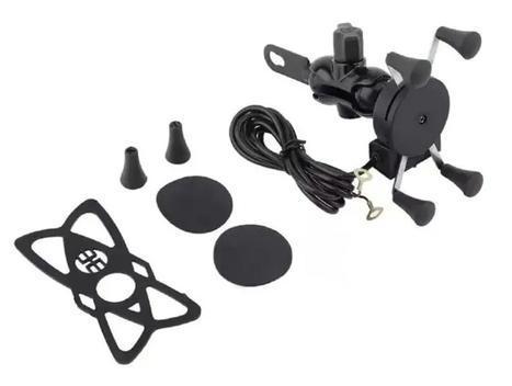 Suporte celular moto com carregador fixa retrovisor - tmac -