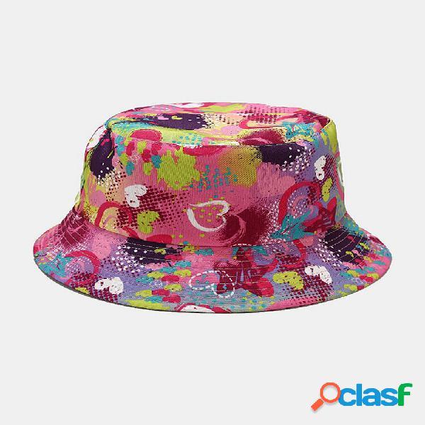 Women & men love print padrão balde de guarda-sol casual de dupla face ao ar livre chapéu