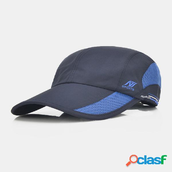 Malha unissex de secagem rápida em cor sólida para sol para viagem beisebol respirável chapéu