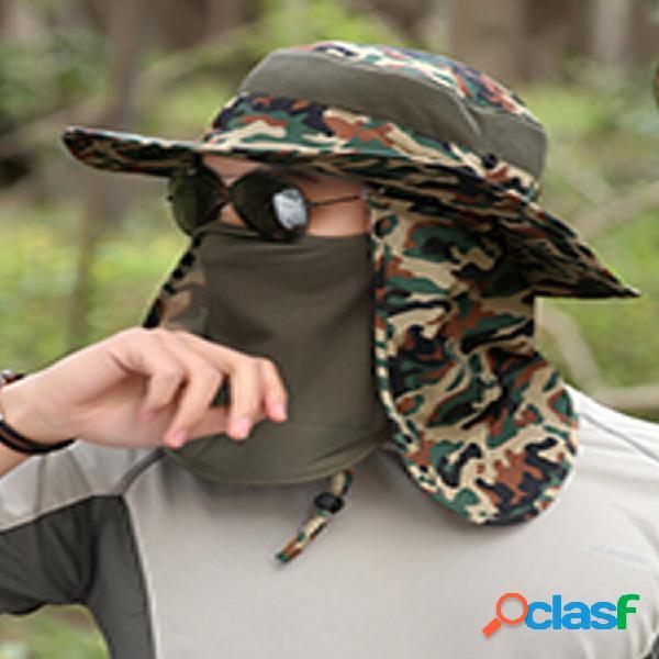Protetor solar de verão masculino ao ar livre chapéu camufla fasherman chapéu pesca anti-mosquito chapéu