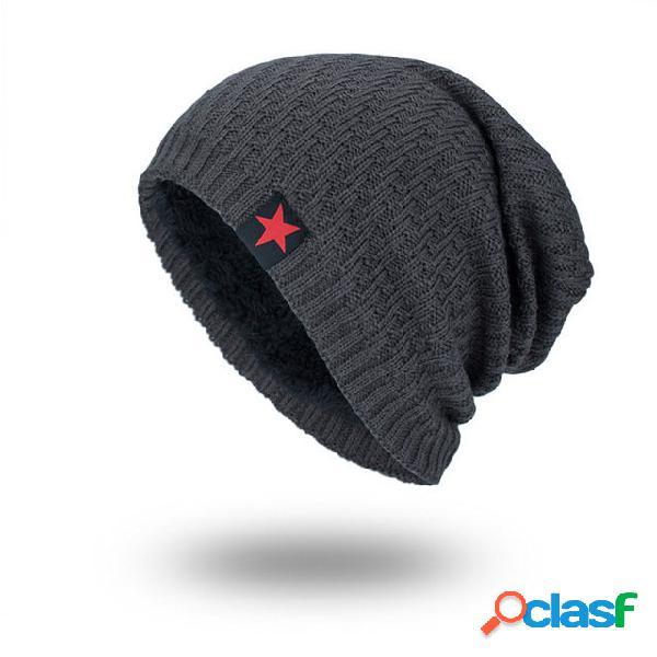 Mulheres homens malha lã chapéu temporada plus quente vermelho cinco estrelas cabeça ao ar livre chapéu