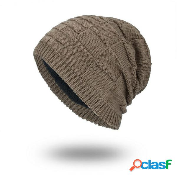 Lã de malha chapéu estação plus homens de cabeça quadrada monocromática quente ao ar livre chapéu