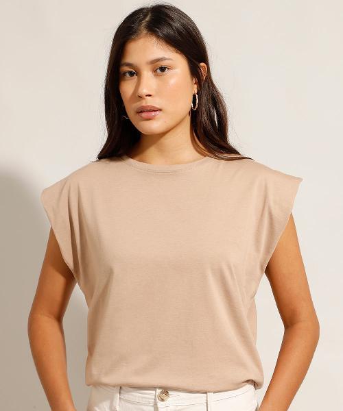 Blusa muscle tee de algodão manga curta decote redondo bege