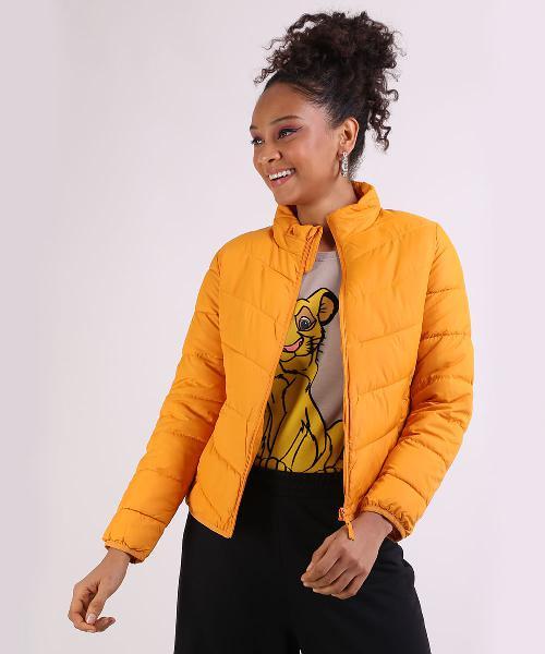 Jaqueta feminina gola alta manga longa amarelo