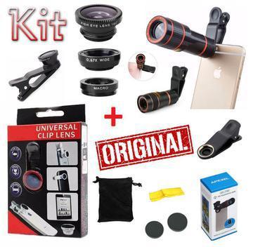 Kit super luneta lente zoom 8x celular telescópica + lentes