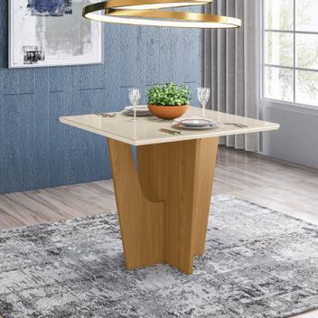 Mesa de jantar com tampo de vidro 90cm vértice móveis henn