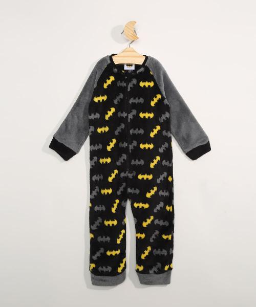 Pijama macacão infantil em fleece manga longa estampado