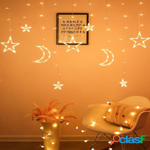 Lanternas de led em forma de lua em forma de estrela luzes de corda para decoração com atmosfera romântica