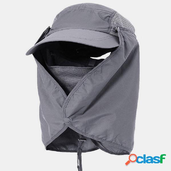 Capa de proteção solar viseira facial pesca ao ar livre chapéu boné de secagem rápida de verão respirável chapéu boné de