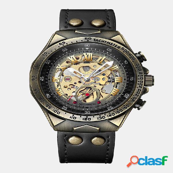 Homens de negócios automáticos watch mostrador oco de couro impermeável mecânico watch