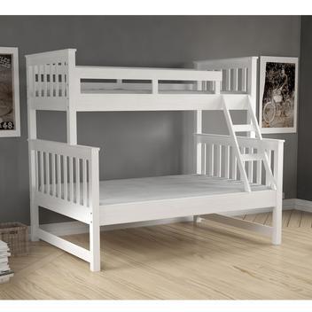 Beliche com cama de casal madeira maciça branco lavado