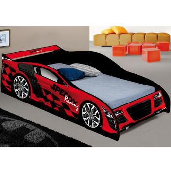Cama infantil com proteção lateral carro speed j&a móveis
