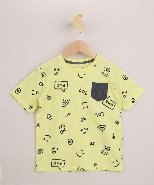Camiseta infantil estampada com bolso manga curta amarela