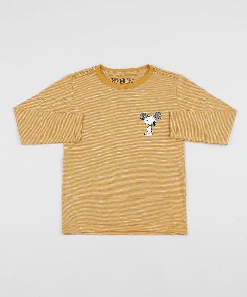 Camiseta Infantil Snoopy Manga Longa Mostarda